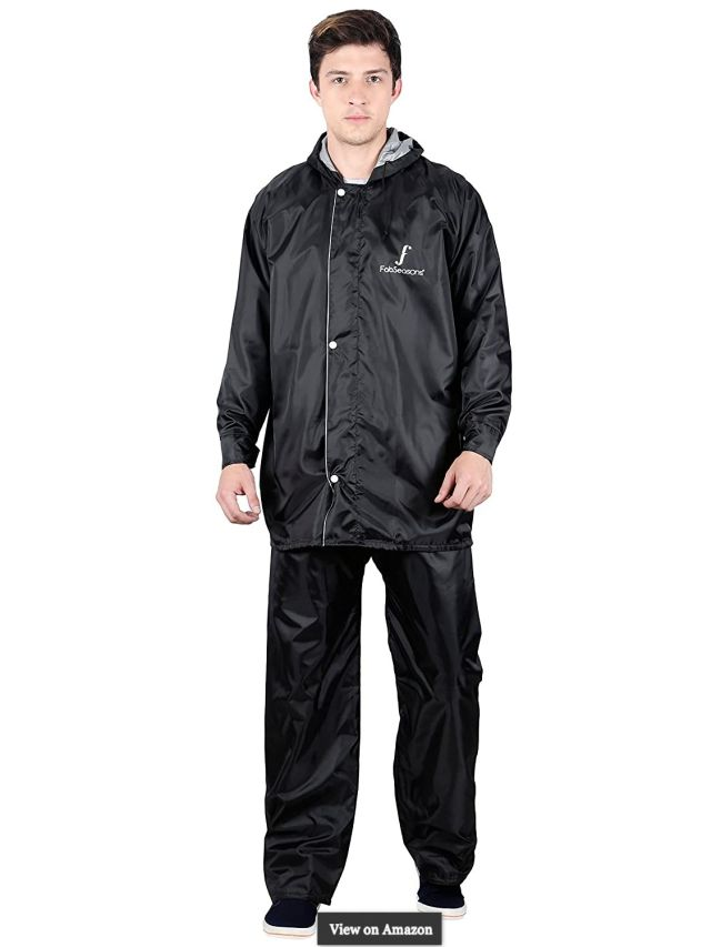 Reversible Waterproof Raincoat Adjustable Hood Reflector at Back Night Visibility. Pack Contains Top