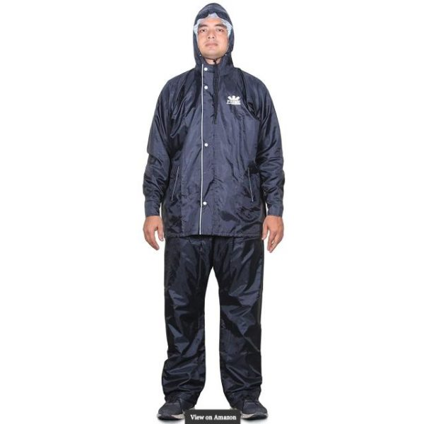 THE CLOWNFISH Sky One Men's Polyester Double Layer Waterproof Raincoat with Hood and Reflector Logo at Back for Night Travelling