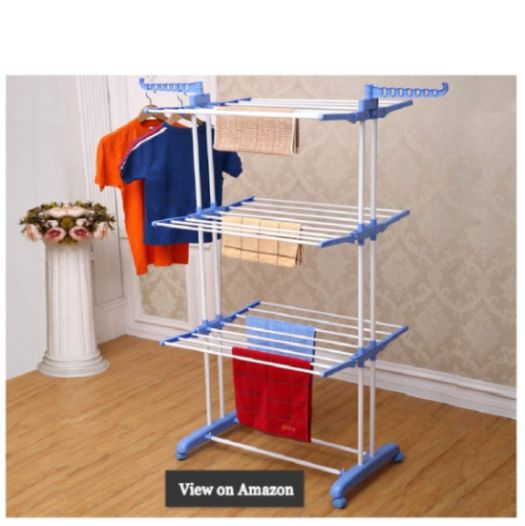 Kumaka Heavy Duty Space Saving Movable Mild Steel Double Pole Cloth Drying Stand Laundry Rack Stand with Weight Capacity above 40Kg