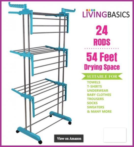 LivingBasics® Heavy Duty Rust-free Stainless Steel Double Pole Cloth Drying Stand Clothes Dryer Stands Laundry Racks with Wheels