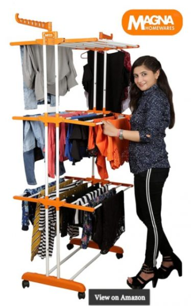Magna Homewares High Tensile Steel Grandis Plus 3 Layers Cloth Drying Stand with Wheels and Cloth Hangers-Orange