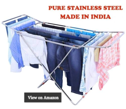 OXYSHINE Stainless Steel Foldable Cloth Dryer Stand Double Rack Cloth Stands for Drying Clothes Steel - Made in India