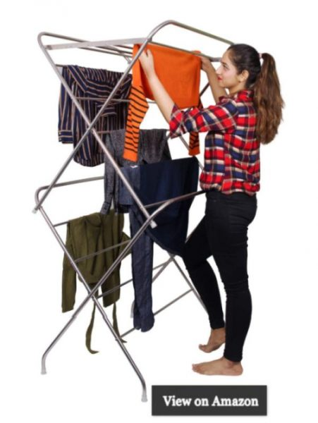 PARASNATH Prime Stainless Steel 12 Rods Large Foldable Cloth Dryer Clothes Drying Stand - Made in India