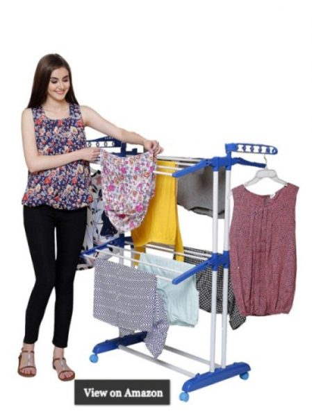 PARASNATH Prime Steel Mini Poll Clothes Drying Stand with Breaking Wheel System- Made in India
