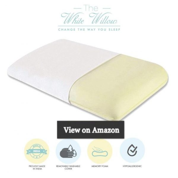 The White Willow Orthopedic Memory Foam King Size Neck & Back Support Sleeping Bed Pillow 24 L x 15